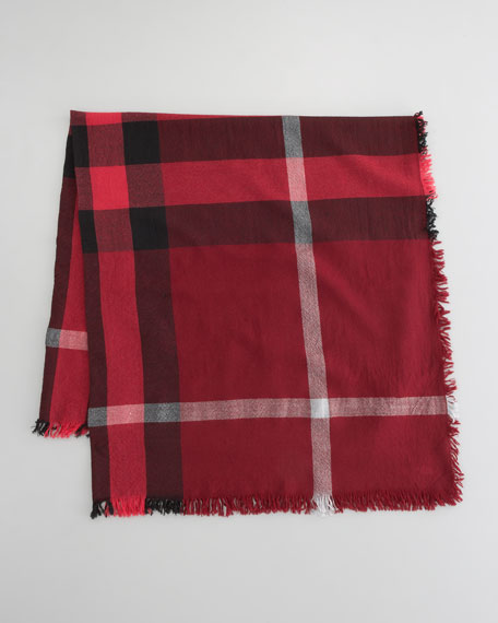 Boiled Wool Square Check Scarf, Mallow Pink