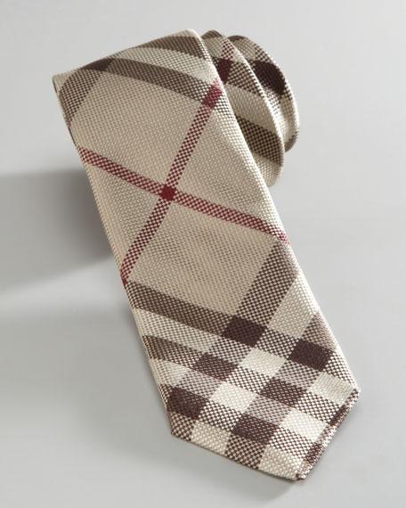 Mini Smoked Check Silk Tie