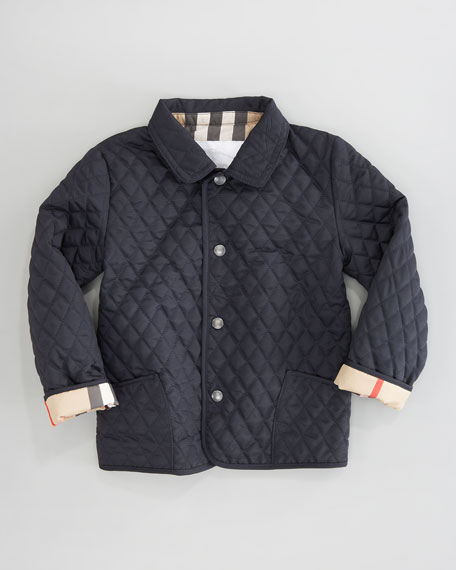 Navy Quilted Mini Jacket, Sizes 12M-3Y