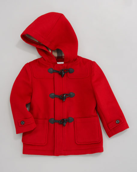 Unisex Hooded Toggle Coat, Military Red
