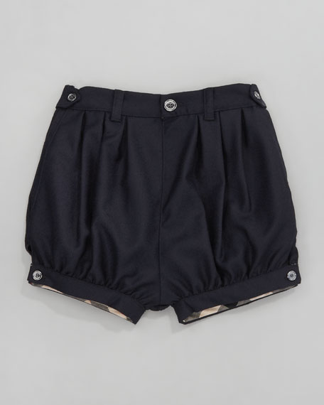 Gathered Wool Shorts