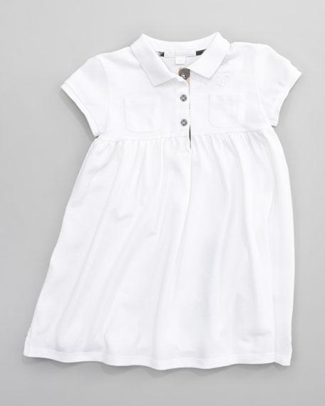 Zena Pique Polo Dress, White