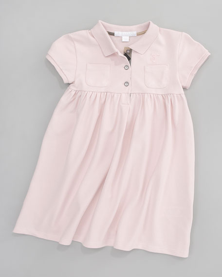 Zena Pique Polo Dress, Ice Pink