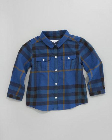 Long-Sleeve Check Shirt, Blue