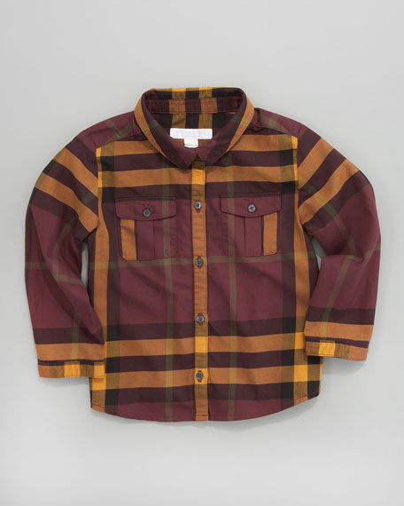 Long-Sleeve Check Shirt, Mahogany