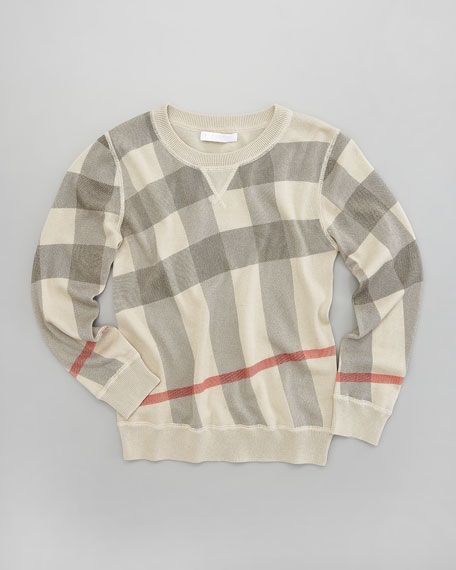 Printed Check Crewneck Sweater