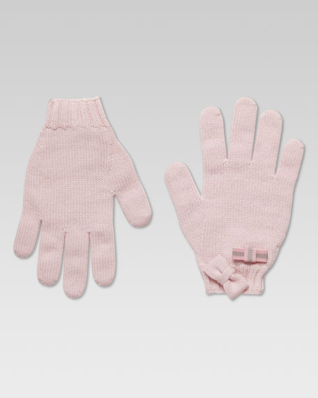 Tricot Knit Glove, Pink