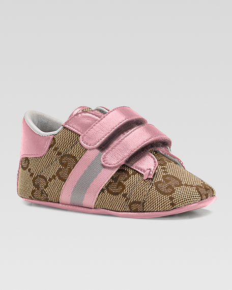 gucci ace double strap sneaker pink baby. Black Bedroom Furniture Sets. Home Design Ideas