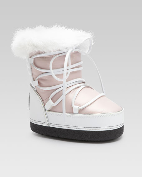 Rabbit-Trim Snow Boot, Pink