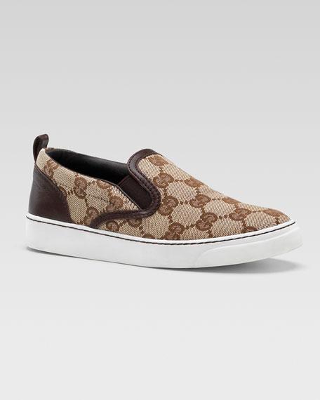 Board GG Slip-On Sneaker, Brown, Youth