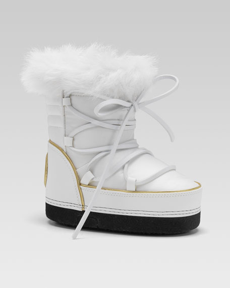 Fur-Lined Snow Boot, White