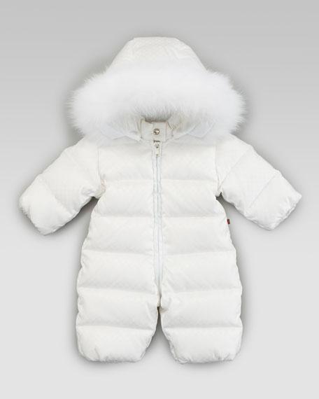 Mini Fur-Trimmed Snowsuit, White