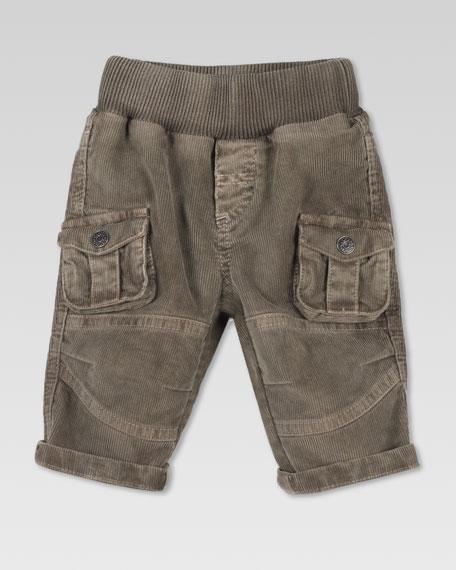 Velvet Corduroy Cargo Pants, Light Military Green