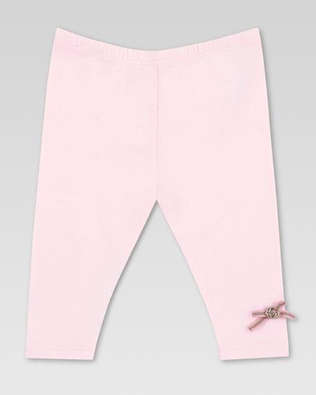 Web Bow Jersey Leggings, Powder Pink