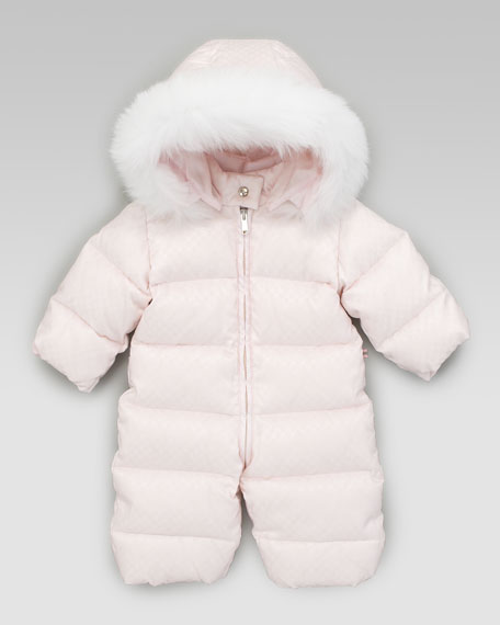 Mini Fur-Trimmed Snowsuit, Pink