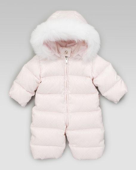 Mini Fur-Trimmed Snowsuit, Pink