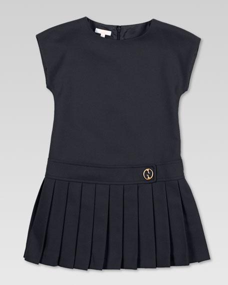 Pleated Drop-Waist Dress, Black