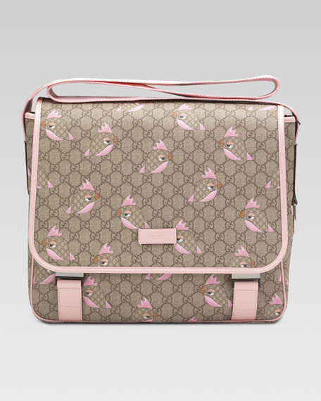 GG Zoo Birds Print Diaper Bag, Pink