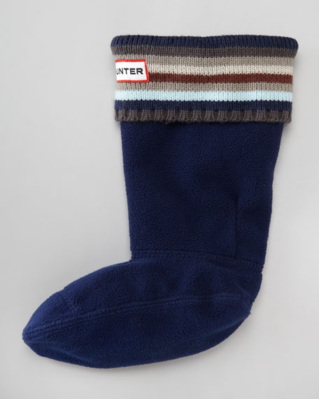 Striped Knit-Cuff Welly Sock, Blue