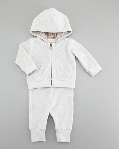 Check-Trim Velour Jogging Set, Gray