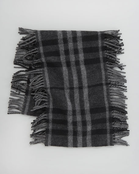 Happy Check Fringe Scarf, Black