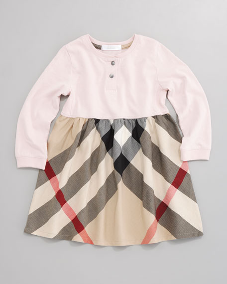 Check-Skirt Henley Dress, Ice Pink