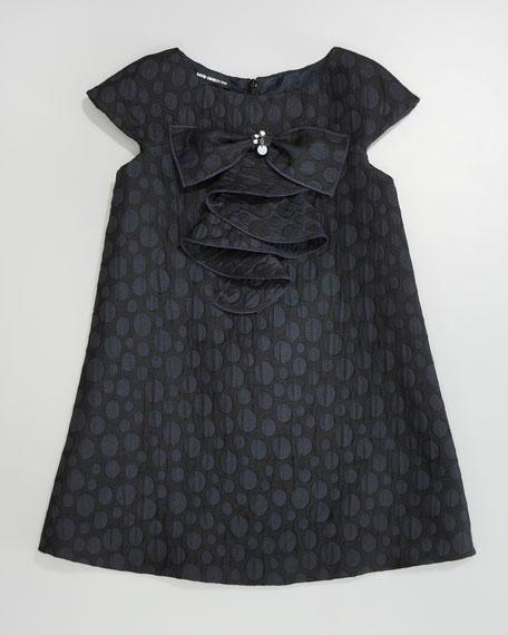 Brocade A-line Dress, Navy