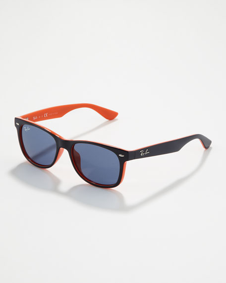 Two-Tone Wayfarer Sunglasses, Navy