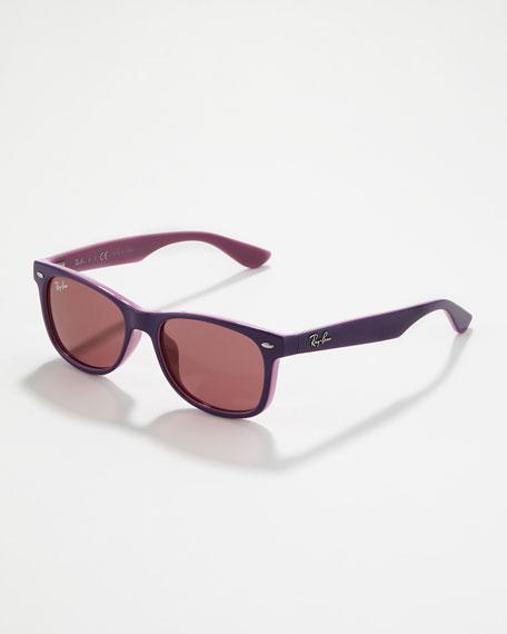 Two-Tone Wayfarer Sunglasses, Purple