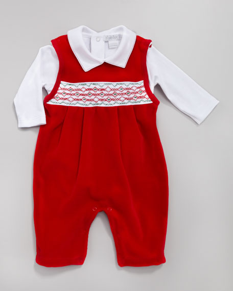Holiday Velour Overall Set