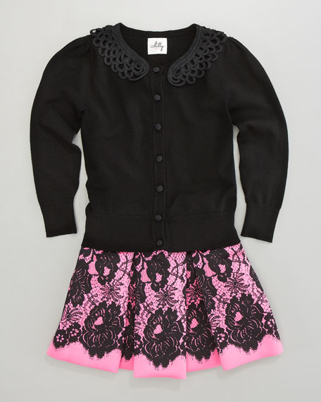 Lace-Print Skirt, Sizes 8-10