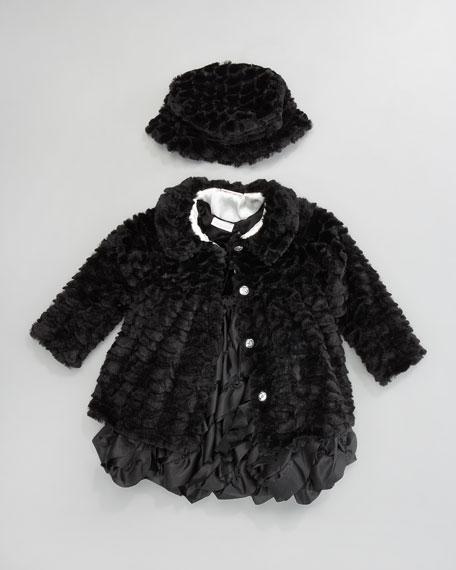 Black Tie Faux-Fur Coat, 12-24 Months