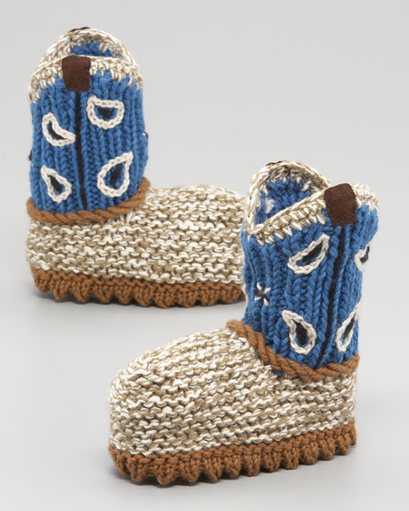 Crocheted Cowboy Boot, Blue