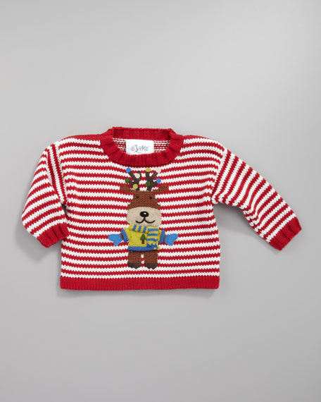 Reindeer Striped Holiday Sweater