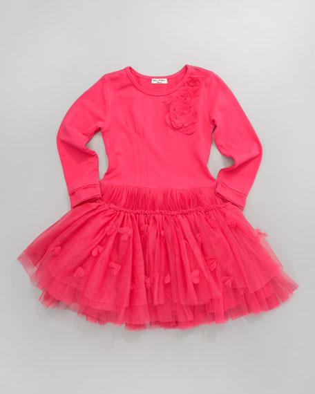Tulle-Skirt Jersey Dress