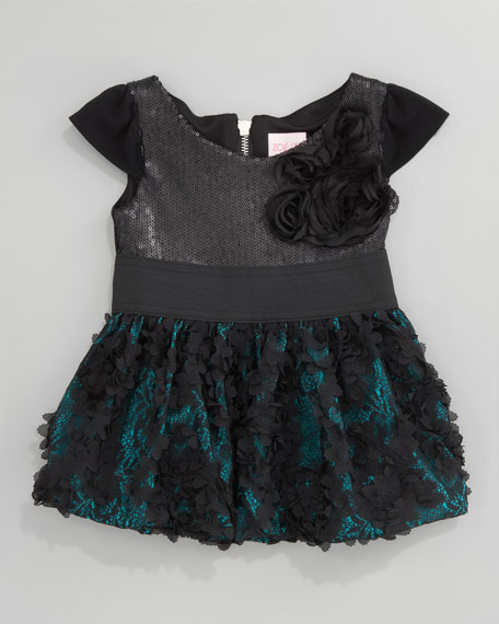 Sequin-Top Combo Dress, Sizes 2-6