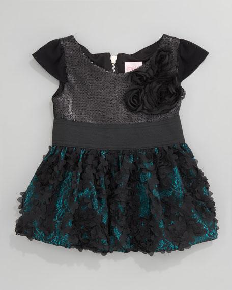 Sequin-Top Combo Dress, Sizes 2-6