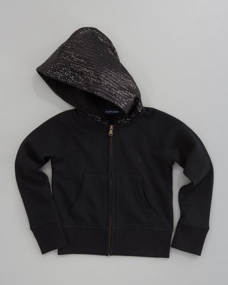 Sequined Zip Hoodie, Black