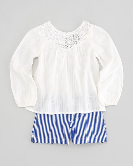 Embroidered-Yoke Top