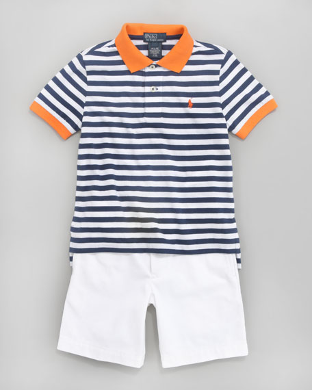 Striped Colorblock Polo, Sizes 8-10