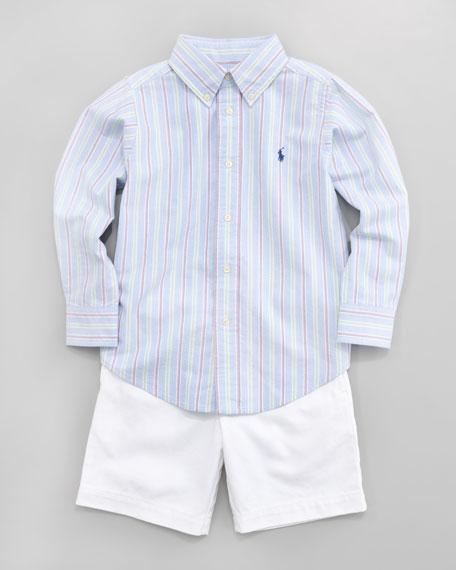 Blake Striped Poplin Shirt, Sizes 2-7