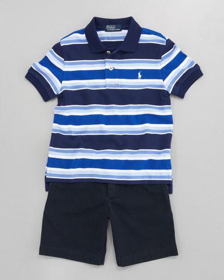 Striped Mesh Polo, Sizes 2-7