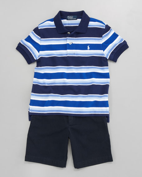Striped Mesh Polo, Sizes 8-10