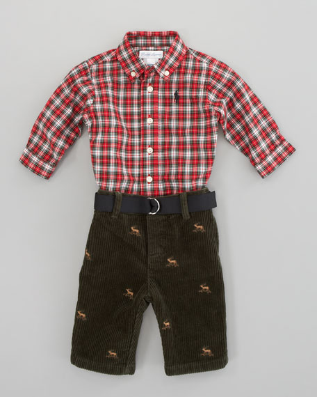 Plaid Shirt and Pant Set, Cream Multi/Black 3-9 Months