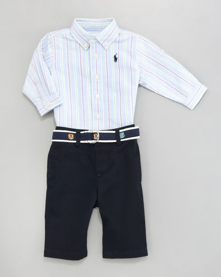 Striped Oxford & Pants Set, 3-9 Months