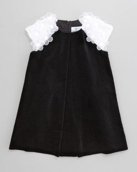 Floral-Shoulder Velvet Dress, Sizes 4-6X