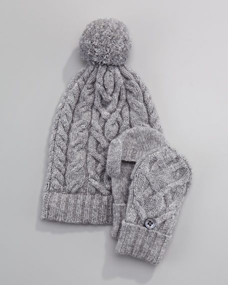 Cashmere Cable-Knit Hat, Gray Flannel, 6-24 Months