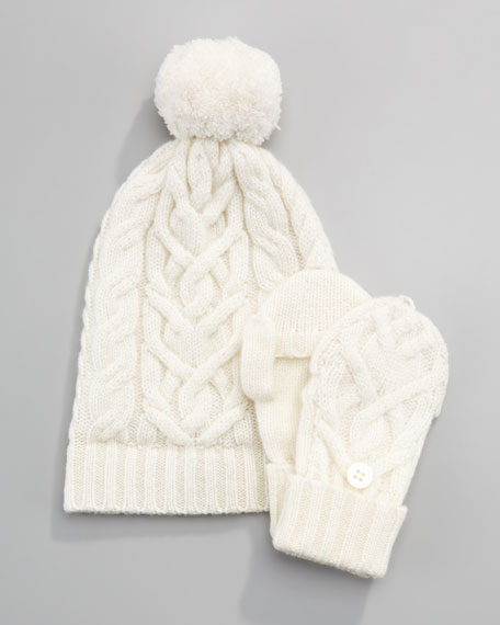 Cashmere Cable-Knit Hat, Niveous Ivory, 6-24 Months