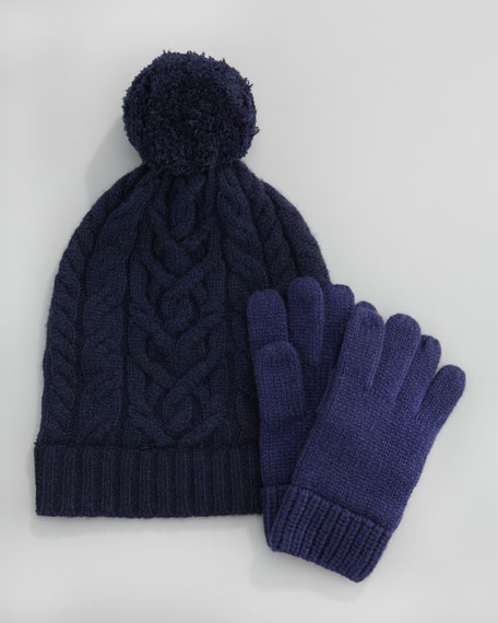 Cashmere Cable-Knit Hat, Sizes 2-6, Navy