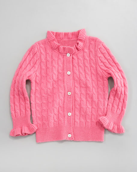 Cashmere Cable-Knit Ruffle Cardigan, Grace Pink